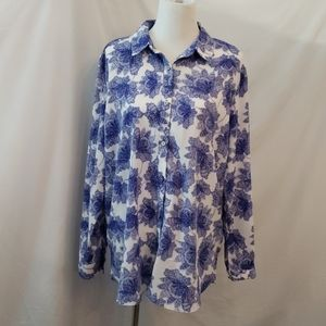 JACLYN SMITH WHITE & ROYAL BLUE BLOUSE SIZE: XXL